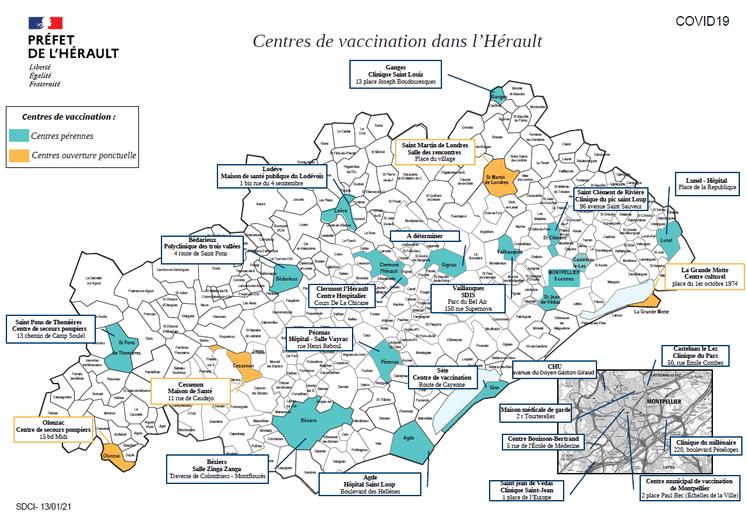 COVID : 24 centres de vaccinations dans l'Hérault