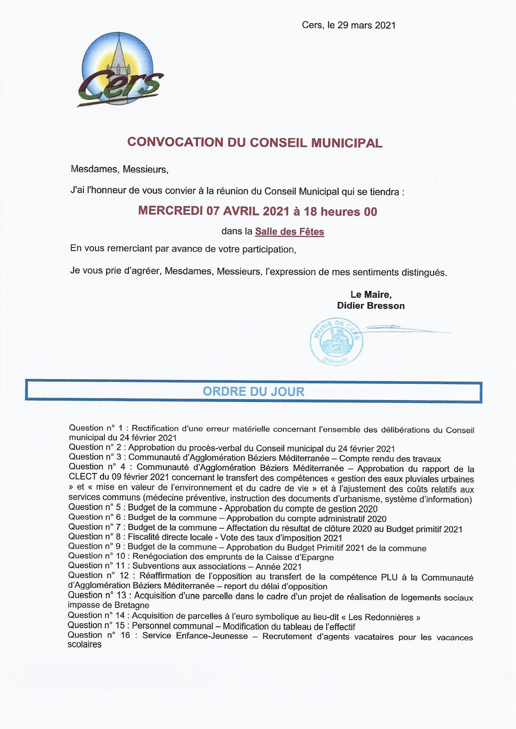 PROCHAIN CONSEIL MUNICIPAL : mercredi 7 avril 2021