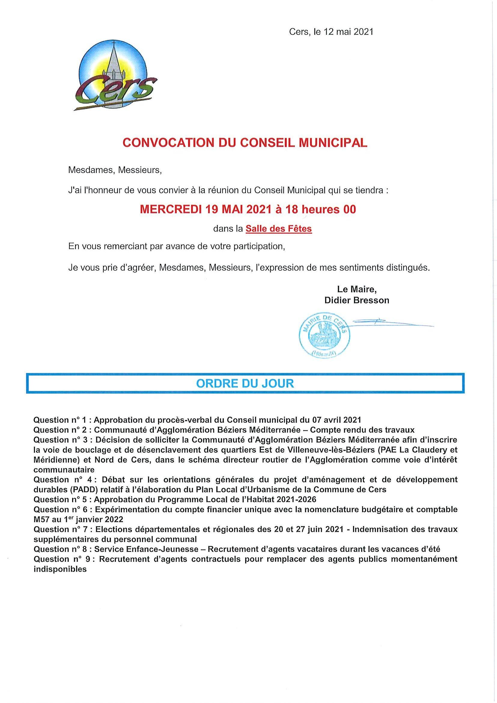 Conseil Municipal du 19 mai 2021