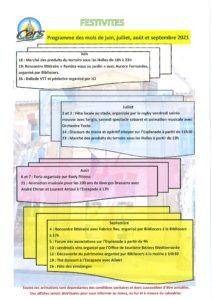 Planning des festivités de juin à septembre