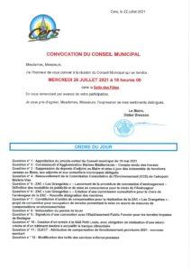 Conseil Municipal du 28 juillet 2021