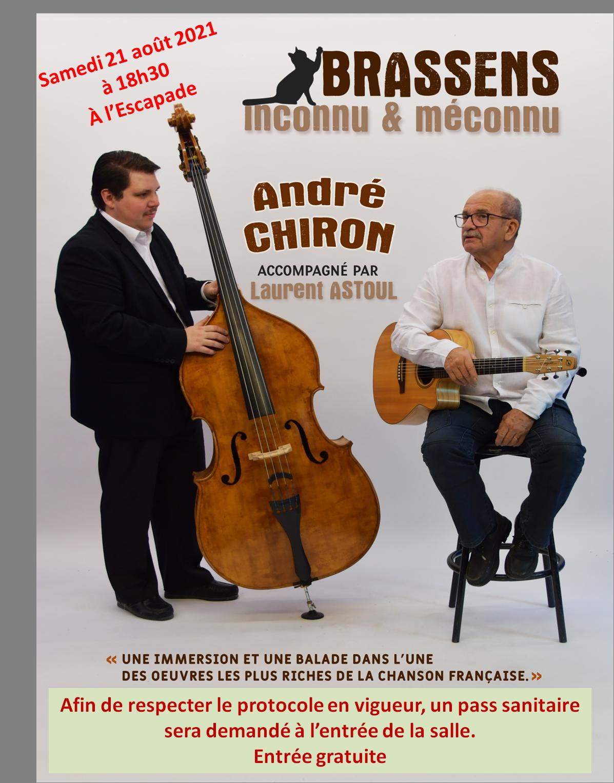 Spectacle musical Brassens : samedi 21 août à l'Escapade