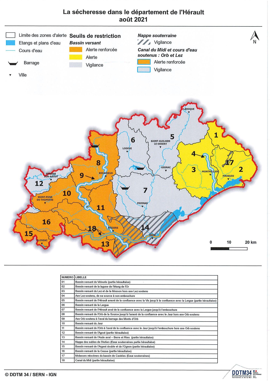 Alerte sécheresse renforcée dans l'Hérault août 2021