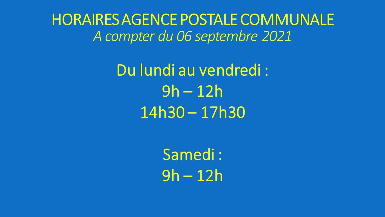 Horaires de l'Agence Postale Communale