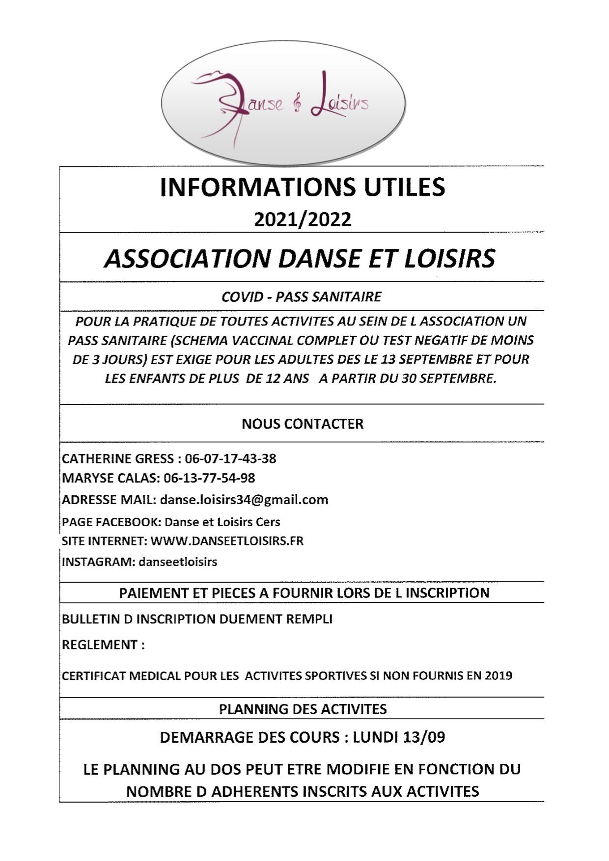 Danse et Loisirs : les cours ont repris