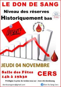 Don du sang le 4 novembre : il y a urgence